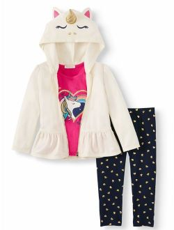 Forever Me Toddler Girl Critter Fleece Peplum Hoodie, Short Sleeve T-shirt, & Leggings, 3pc Outfit Set
