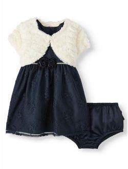 Baby Toddler Girl Christmas Holiday Embroidered Dress With Shrug