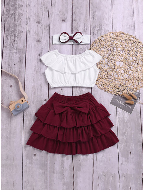 Toddler Girl Ruffle Trim Top And Bow Tiered Hem Skirt With Headband
