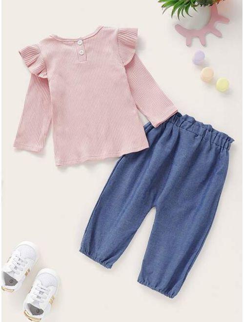 Shein Toddler Girls Ruffle Trim Tee & Bow Front Paperbag Pants