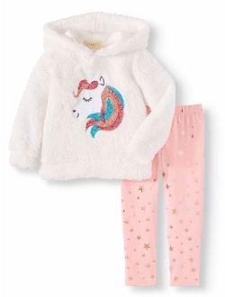 Btween Sherpa Critter Hoodie and Leggings, 2pc Outfit Ser (Toddler Girls)