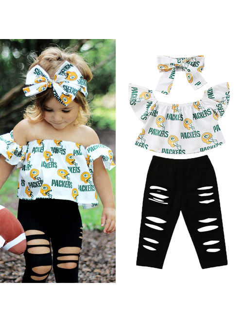 Packers Off Shoulder Tops Ripped Leggings 3-piece Outfits Set ( Toddler Girls )