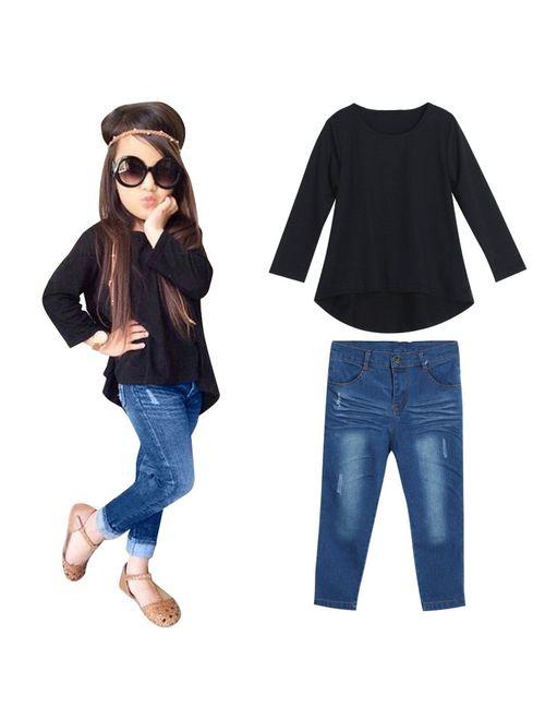 2PCS Toddler Kids Baby Girls T-shirt Dress Tops+Denim Pants Clothes Outfits Set