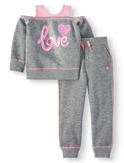 Fleece Cold Shoulder Graphic Top And Jogger Pants, 2pc Outfit Set (toddler Girls)