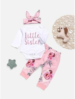Toddler Girls Letter Graphic Jumpsuit & Floral Print Pants & Headband