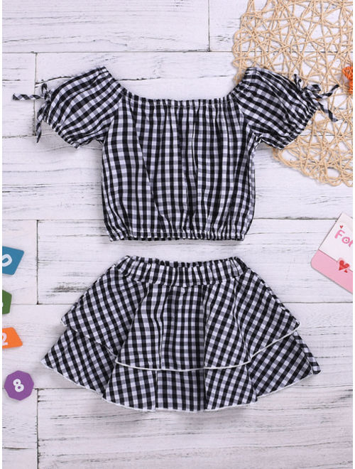 Toddler Girls Tie Side Gingham Blouse With Skirt