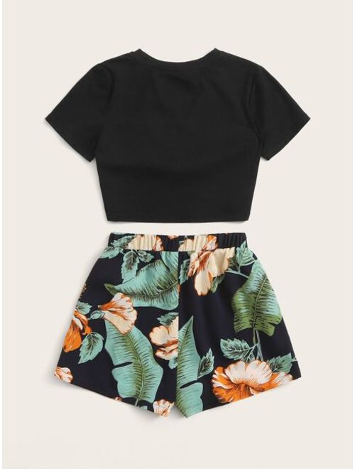Shein Girls Twist Wrap Top & Tropical Tie Front Shorts Set