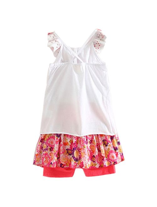 LittleSpring Little Girls Summer Clothes Floral Tank Top and Skirted Shorts Outfit Set