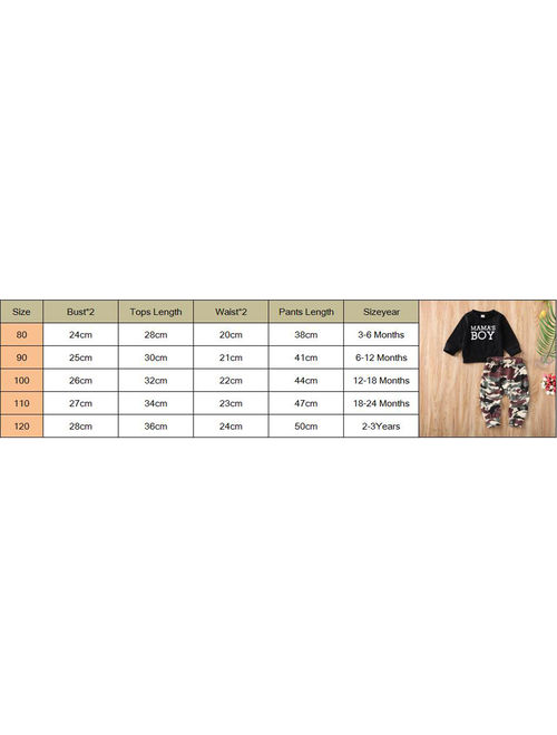 Toddler Baby Kids Boy Clothes Sweatshirt Tops Camo Pants Outfits Set Tracksuits Black 12-18 Months