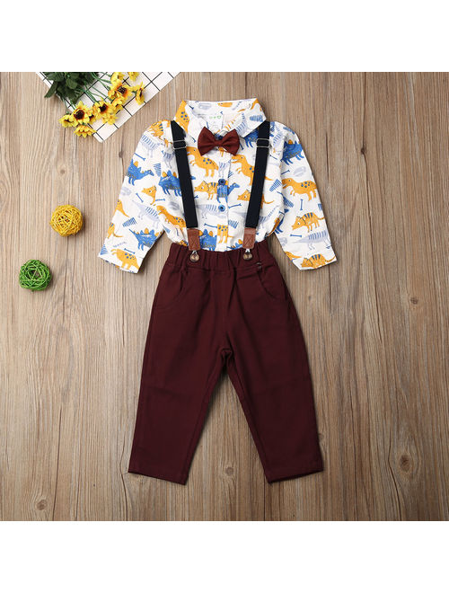 Hirigin Toddler Baby clothes kids boys wedding party suit top+pants tuxedo outfits set White 6-9 Months