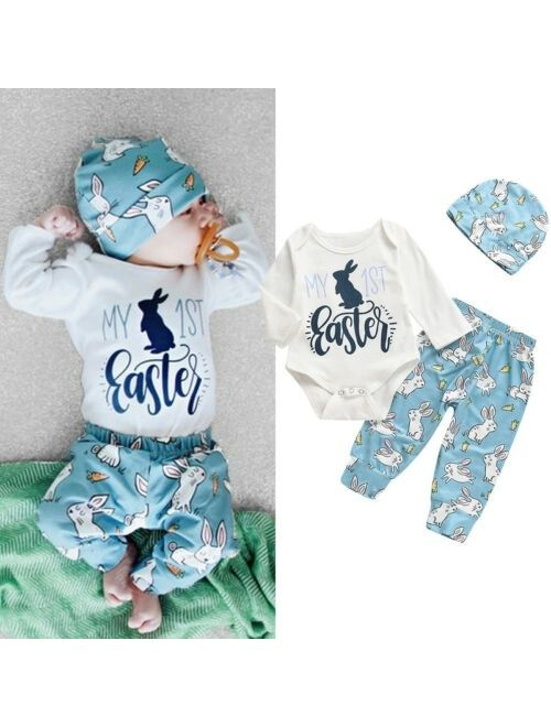 Canis Newborn Baby Boys Cute Bunny Easter Romper Bodysuit Pants Hat Outfit Clothes Set