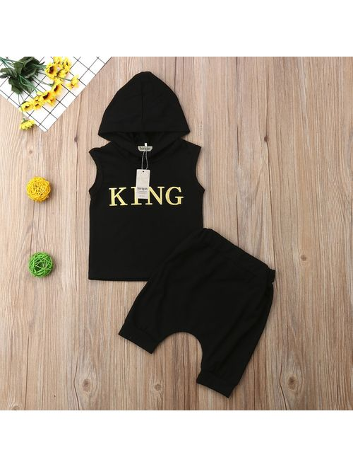 Canis Summer New 2Pcs Toddler Kids Baby Boy Sleeveless Hooded Vest Tank Tops+Shorts Pants Outfits Clothes Set
