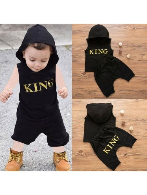 Toddler Kids Baby Boys Hooded Vest Tops T-Shirt+Pants 2pcs Outfits Clothes Set