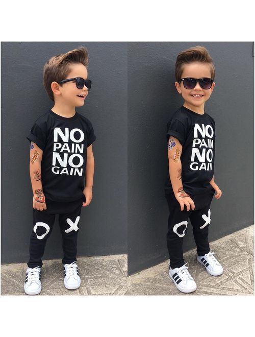 Canis Toddler Kids Baby Boy Outfits Clothes No pain no gain T-shirt Top+Pants 2pcs Set Sz 1-6T