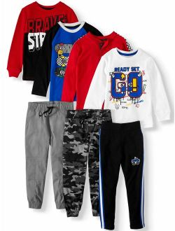 Boys 4-10 Kid-pack With Long Sleeve T-shirts, Sweatpants, & Jogger Pants, 7-piece Outfit Set