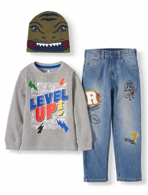 365 Kids from Garanimals Boys 4-10 Long Sleeve Sweatshirt, Jeans, and Beanie, 3-Piece Outfit Set