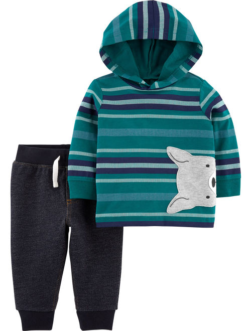 Child of Mine by Carter's Toddler Boys Long Sleeve Hooded Shirt & Jogger Pant Set, 2 pc Outfit Set