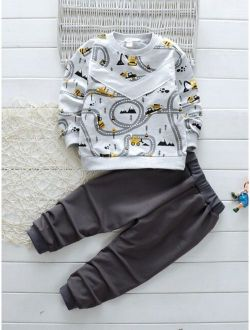 Toddler Boys Cartoon Graphic Sweatshirt & Sweatpants