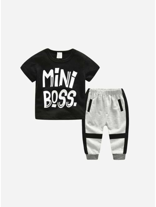 Toddler Boys Letter Print Tee With Pants