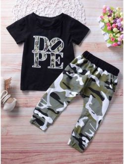 Toddler Boys Letter Graphic Tee With Camo Pants