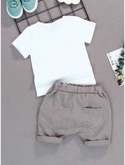 Toddler Boys Bow Front Tee & Stripe Shorts