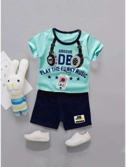 Toddler Boys Letter And Headset Print Tee With Shorts