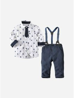 Toddler Boys All Over Printed Shirt With Striped Overalls