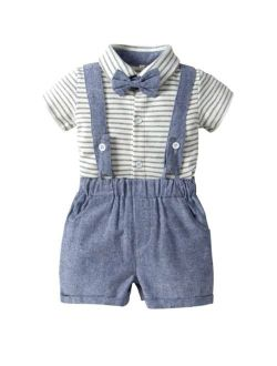 Toddler Boys Bow Striped Romper With Straps Shorts