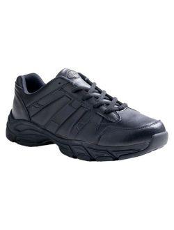 Men's Athletic Lace Genuine Leather Slip Resistant Sneakers - Black 5.5