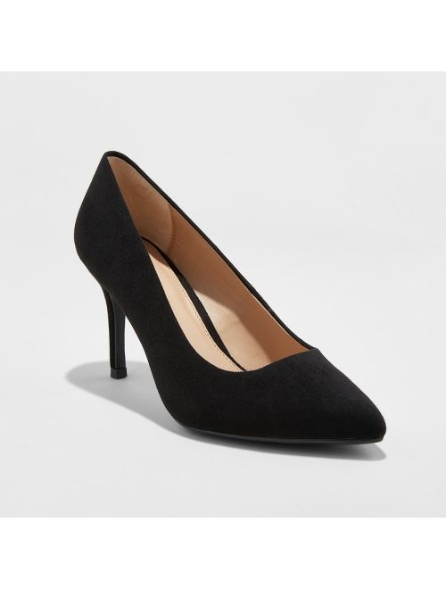 Women's Gemma Wide Width Pointed Toe Pumps - A New Day™ Black