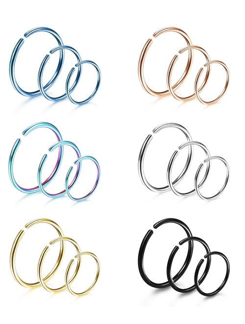 1 PC 20G to 00G Captive Bead Ring 316L Surgical Steel