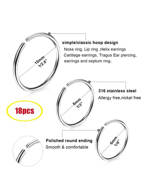 Loyallook 18 24pcs 20g 316l Stainless Steel Nose Ring Hoop