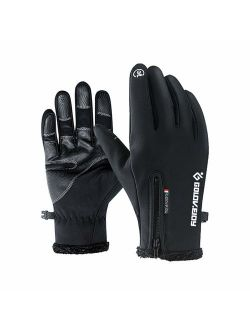 Jeniulet Mens Winter Warm Gloves Waterproof and All Finger Touch Screen Gloves for Cycling and Outdoor Work