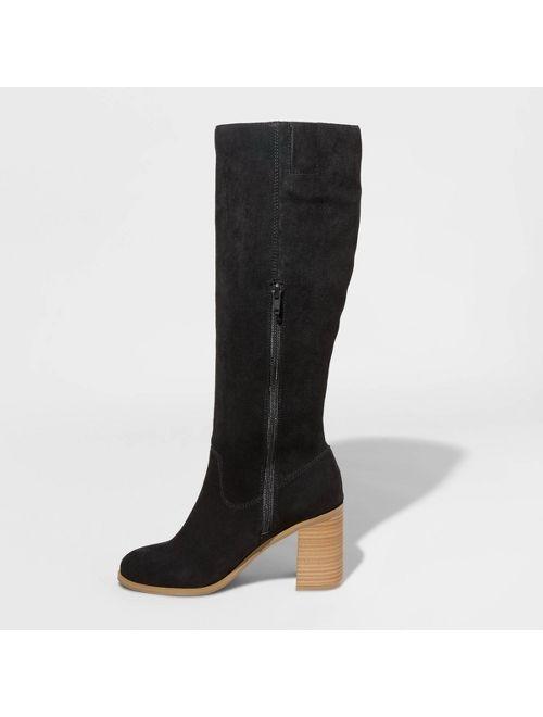 Women's Antonia Microsuede Heeled Riding Boots - Universal Thread