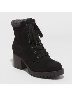 Microsuede Heeled Lace Up Fashion Boots - Universal Thread