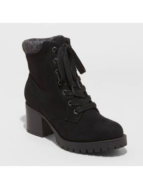 Women's Aveline Microsuede Heeled Lace Up Fashion Boots - Universal Thread