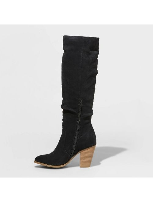 Women's Lanae Microsuede Heeled Scrunch Riding Boots - Universal Thread