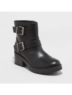 Faux Leather Double Buckle Bootie - Universal Thread Black