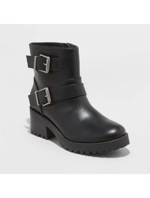Women's Laraine Faux Leather Double Buckle Bootie - Universal Thread Black