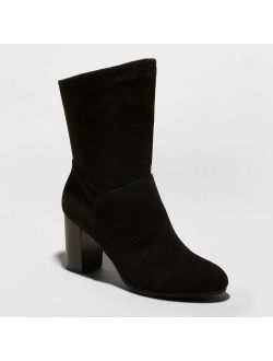 Women's Caralynn Microsuede Heeled Slouch Bootie - A New Day