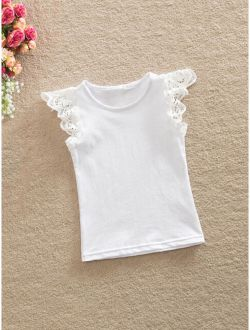 Toddler Girls Contrast Lace Plain Tee