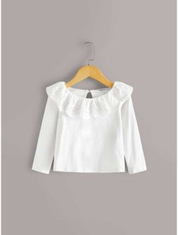 Toddler Girls Scallop Eyelet Embroidery Tee