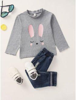 Toddler Girls Rabbit Print Mock Neck Tee