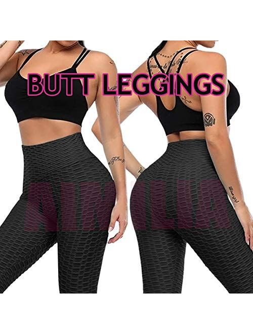 AIMILIA Ruched Butt Lifting High Waist Textured Yoga Pants Tummy Control Workout Leggings