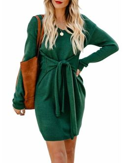 Happy Sailed Sweater Dress Women V Neck Tie Front Long Sleeves Mini Bodycon Knit Dresses
