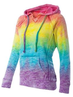 Koloa Surf Womens and Girls Rainbow Stripe V-Neck Burnout Hoodies in Sizes S-2XL