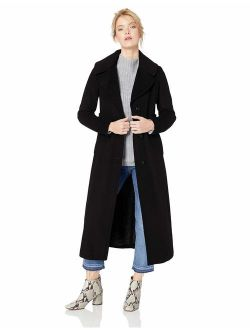 Women's Maxi Length Wool Refer, With Wide Collar