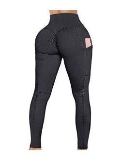 Women's Yoga Pants High Waist Scrunch Ruched Butt Lifting Workout Leggings Sport Fitness Gym Push Up Tights
