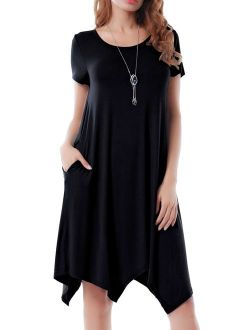 Invug Women Casual Loose Soft Crewneck Short Sleeve Pockets Swing T-Shirt Dress