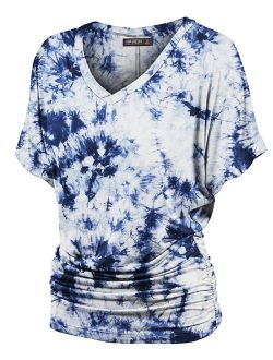 Lock and Love Women's Short Sleeve Crew Neck/V Neck Tie-Dye Ombre Dolman Top - Made in USA